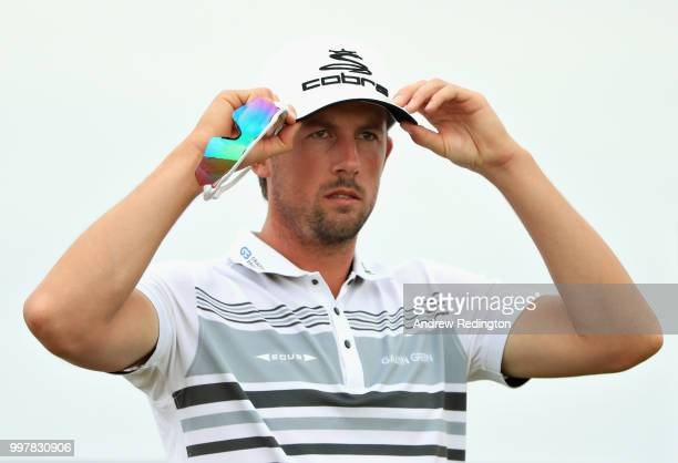 Alexander Bjork of Sweden looks on on hole fourteen during day two of the Aberdeen Standard Investments Scottish Open at Gullane Golf Course on July...