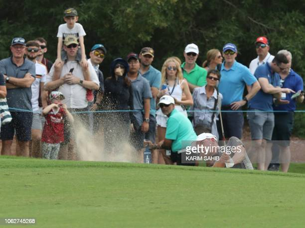 Alexander Bjork of Sweden plays a shot during day three of the DP World Tour Championship at Jumeirah Golf Estates golf course in Dubai on November...