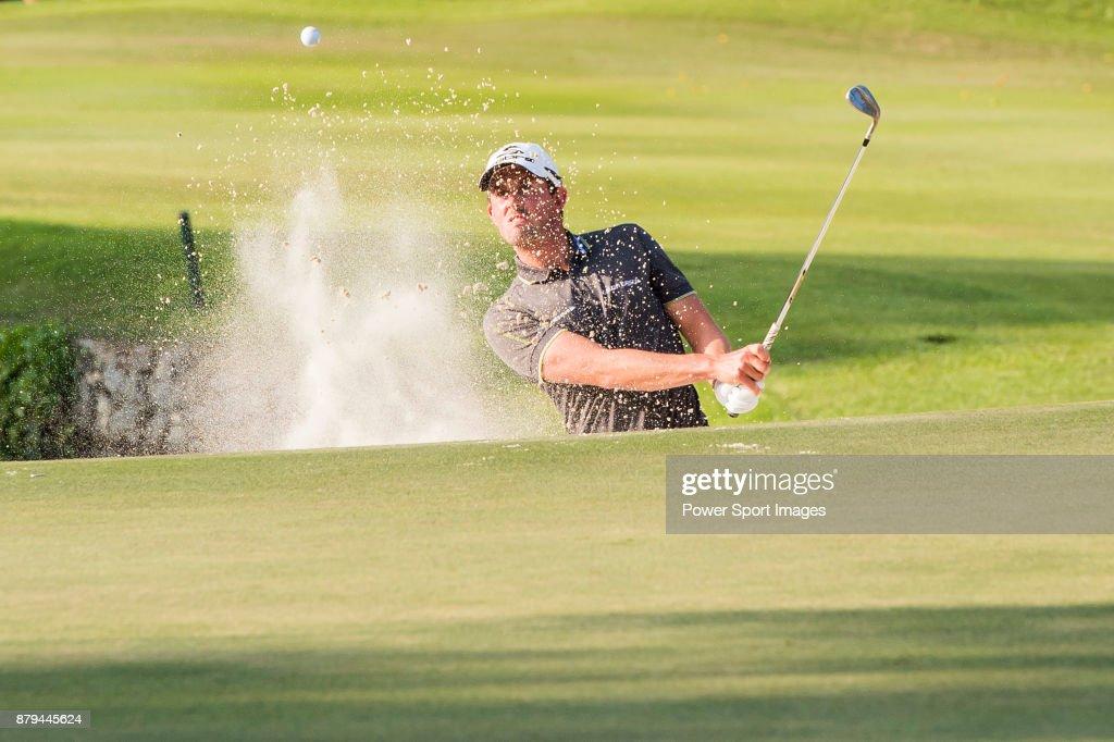 Alexander Bjork of Sweden plays a shot during round four of the UBS Hong Kong Open at The Hong Kong Golf Club on November 26, 2017 in Hong Kong, Hong Kong.