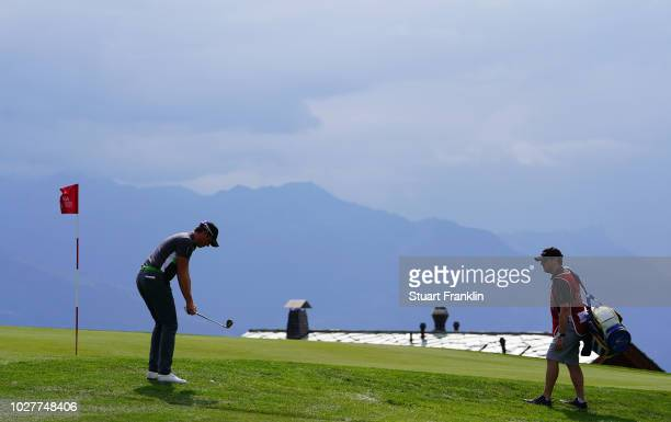 Alexander Bjork of Sweden plays a shot during the first round of the Omega European Masters at CranssurSierre Golf Club on September 6 2018 in...