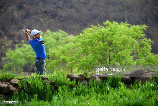 Alexander Bjork of Sweden plays a shot during the pro am prior to the start of the Nedbank Golf Challenge at Gary Player CC on November 6 2018 in Sun...