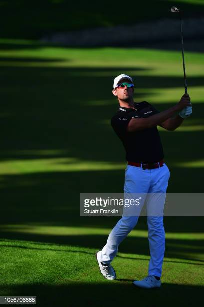 Alexander Bjork of Sweden plays a shot during the third round of the Turkish Airlines Open at Regnum Carya Golf Spa Resort on November 3 2018 in...