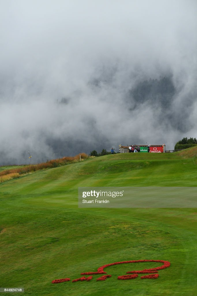 Alexander Bjork of Sweden plays a shot during the third round of the Omega European Masters at Crans-sur-Sierre Golf Club on September 9, 2017 in Crans-Montana, Switzerland.