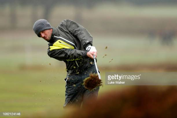 Alexander Bjork of Sweden plays a shot from the 15th fairway during day four of Sky Sports British Masters at Walton Heath Golf Club on October 14...
