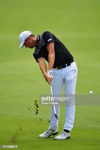 Alexander Bjork of Sweden plays a shot on the 18th hole during the second round of the 2018 PGA Championship at Bellerive Country Club on August 10...