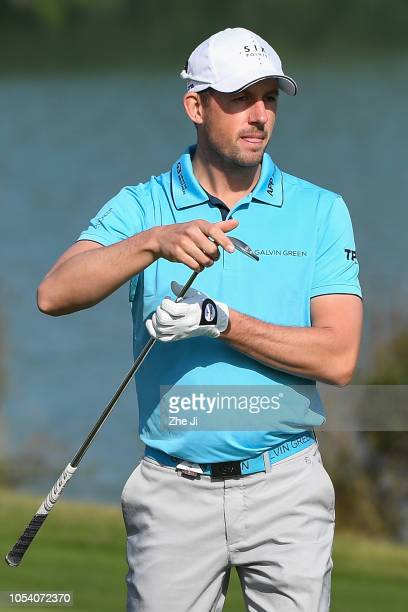 Alexander Bjork of Sweden plays a shot on the 2nd hole during the third round of the WGC HSBC Champions at Sheshan International Golf Club on October...