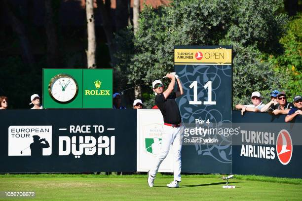 Alexander Bjork of Sweden plays a tee shot on the 11th hole during the third round of the Turkish Airlines Open at Regnum Carya Golf Spa Resort on...