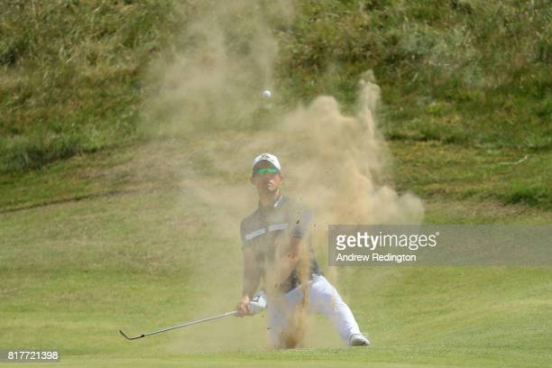 Alexander Bjork of Sweden plays from a bunker during a practice round prior to the 146th Open Championship at Royal Birkdale on July 18 2017 in...