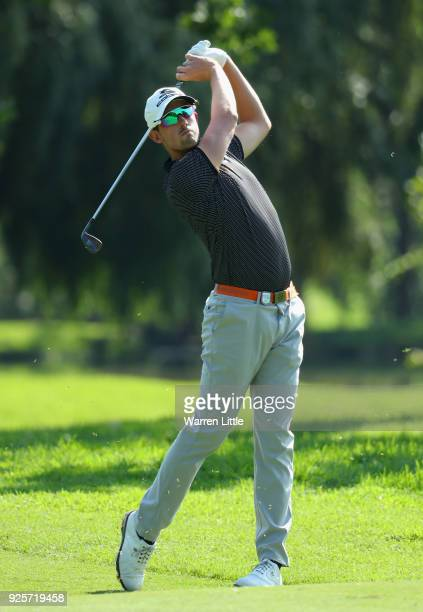 Alexander Bjork of Sweden plays his second shot into the 14th green during the first round of the Tshwane Open at Pretoria Country Club on March 1...