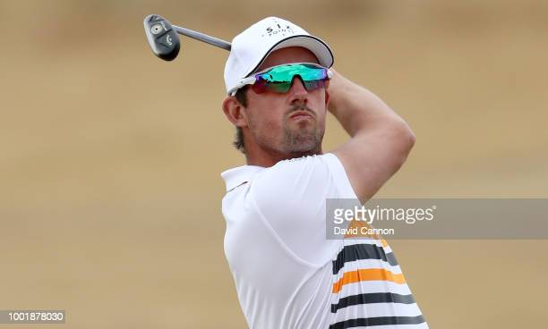 Alexander Bjork of Sweden plays his second shot on the 14th hole during the first round of the 147th Open Championship at Carnoustie Golf Club on...