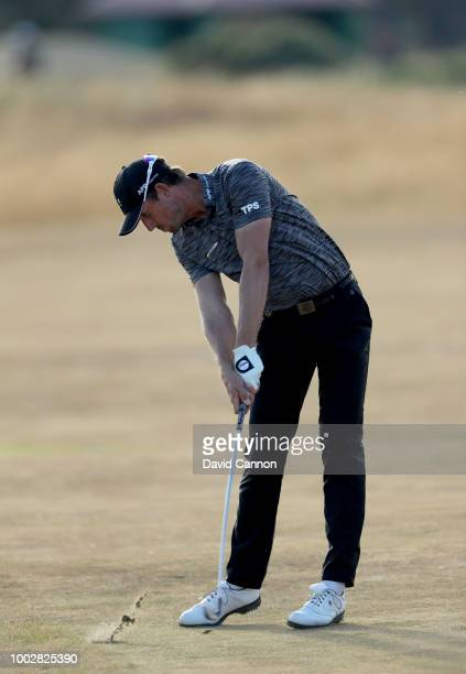 Alexander Bjork of Sweden plays his second shot on the 14th hole during the second round of the 147th Open Championship at Carnoustie Golf Club on...