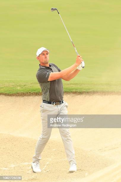 Alexander Bjork of Sweden plays his second shot on the 3rd hole during day three of the DP World Tour Championship at Jumeirah Golf Estates on...