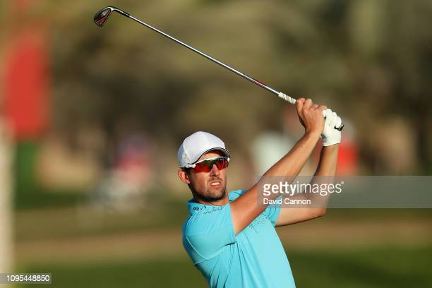 Alexander Bjork of Sweden plays his second shot on the par 4 16th hole during Day Two of the Abu Dhabi HSBC Golf Championship at Abu Dhabi Golf Club...