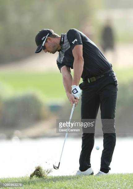 Alexander Bjork of Sweden plays his second shot on the par 4 17th hole during the third round of the Abu Dhabi HSBC Golf Championship at the Abu...