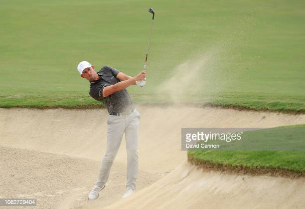 Alexander Bjork of Sweden plays his second shot on the par 4 third hole during the third round of the DP World Tour Championship on the Earth Course...