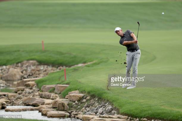 Alexander Bjork of Sweden plays his second shot on the par 5 18th hole during the third round of the DP World Tour Championship on the Earth Course...