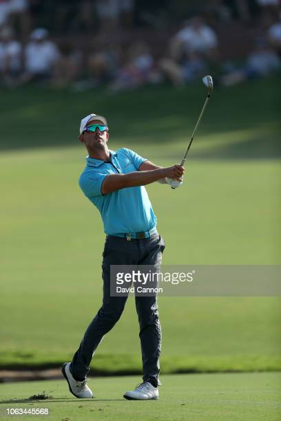 Alexander Bjork of Sweden plays his second shot on the par 5 18th hole during the final round of the DP World Tour Championship on the Earth Course...