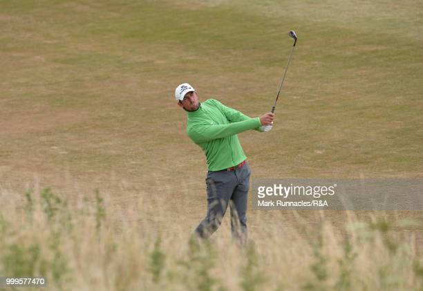 Alexander Bjork of Sweden plays his second shot to the 1st hole during the Open Qualifying Series as part of the Aberdeen Standard Investments...