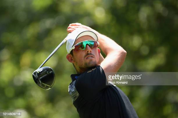 Alexander Bjork of Sweden plays his shot from the 11th tee during the second round of the 2018 PGA Championship at Bellerive Country Club on August...