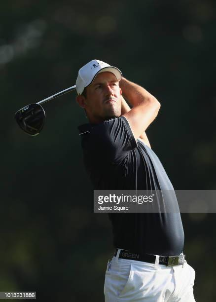 Alexander Bjork of Sweden plays his shot from the 15th tee during a practice round prior to the 2018 PGA Championship at Bellerive Country Club on...
