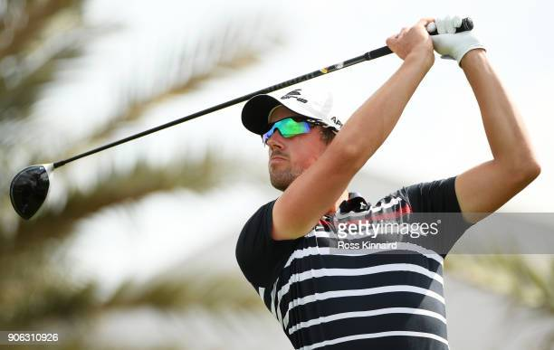 Alexander Bjork of Sweden plays his shot from the 18th tee during round one of the Abu Dhabi HSBC Golf Championship at Abu Dhabi Golf Club on January...