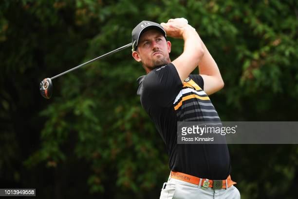 Alexander Bjork of Sweden plays his shot from the 18th tee during the first round of the 2018 PGA Championship at Bellerive Country Club on August 9...
