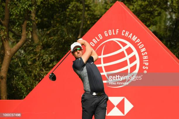 Alexander Bjork of Sweden plays his shot from the ninth tee during the first round of the WGC HSBC Champions at Sheshan International Golf Club on...