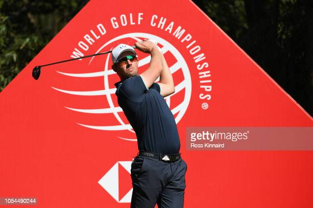 Alexander Bjork of Sweden plays his shot from the ninth tee during the final round of the WGC HSBC Champions at Sheshan International Golf Club on...