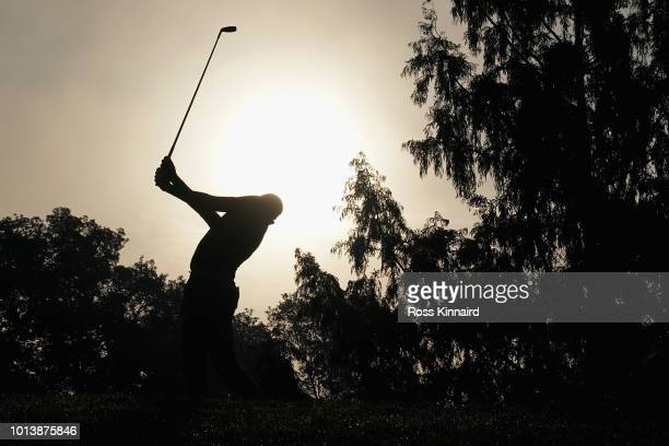 Alexander Bjork of Sweden plays his shot from the second tee during the first round of the 2018 PGA Championship at Bellerive Country Club on August...