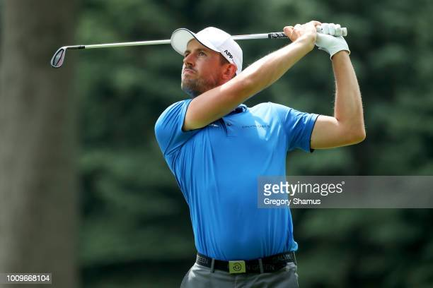 Alexander Bjork of Sweden plays his shot from the seventh tee during World Golf ChampionshipsBridgestone Invitational Round One at Firestone Country...