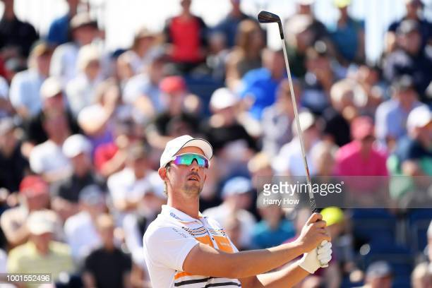 Alexander Bjork of Sweden plays his shot from the third tee during the first round of the 147th Open Championship at Carnoustie Golf Club on July 19...