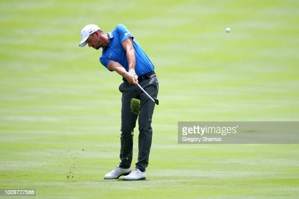 Alexander Bjork of Sweden plays his shot on the 18th hole during World Golf ChampionshipsBridgestone Invitational Round One at Firestone Country Club...