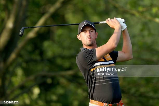 Alexander Bjork of Sweden plays his tee shot on the second hole during the first round of the 100th PGA Championship at the Bellerive Country Club on...