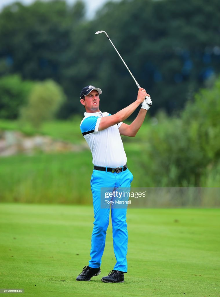 Alexander Bjork of Sweden plays his third shot on the 9th fairway during the Porsche European Open - Day One at Green Eagle Golf Course on July 27, 2017 in Hamburg, Germany.