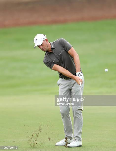 Alexander Bjork of Sweden plays his third shot on the par 4 third hole during the third round of the DP World Tour Championship on the Earth Course...