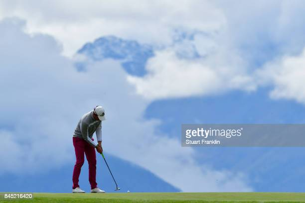 Alexander Bjork of Sweden putts on the 7th hole during Day Five of the Omega European Masters at CranssurSierre Golf Club on September 10 2017 in...