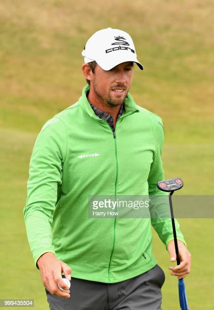 Alexander Bjork of Sweden reacts after his par putt on hole one during day four of the Aberdeen Standard Investments Scottish Open at Gullane Golf...