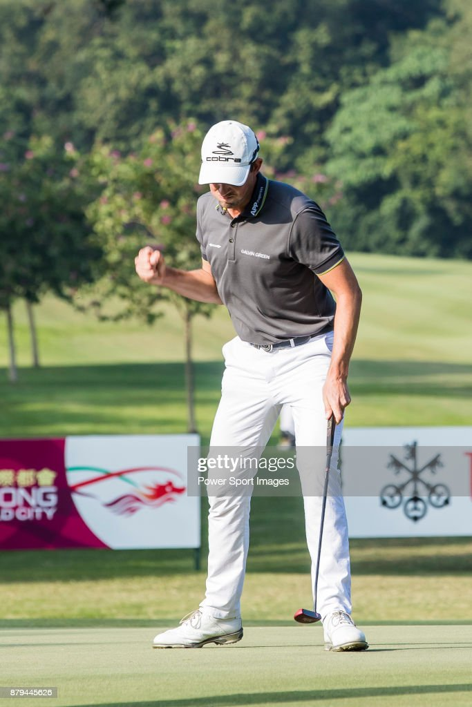 Alexander Bjork of Sweden reacts during round four of the UBS Hong Kong Open at The Hong Kong Golf Club on November 26, 2017 in Hong Kong, Hong Kong.