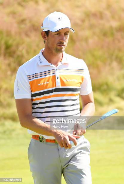 Alexander Bjork of Sweden reacts on the 2nd green during the first round of the 147th Open Championship at Carnoustie Golf Club on July 19 2018 in...
