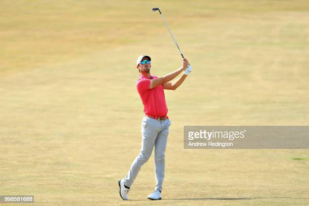 Alexander Bjork of Sweden takes his second shot on hole four during day three of the Aberdeen Standard Investments Scottish Open at Gullane Golf...