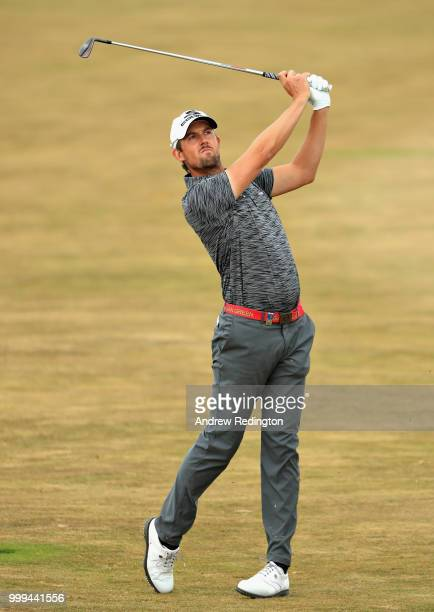 Alexander Bjork of Sweden takes his second shot on hole four during day four of the Aberdeen Standard Investments Scottish Open at Gullane Golf...