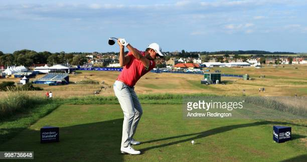 Alexander Bjork of Sweden takes his tee shot on hole eighteen during day three of the Aberdeen Standard Investments Scottish Open at Gullane Golf...