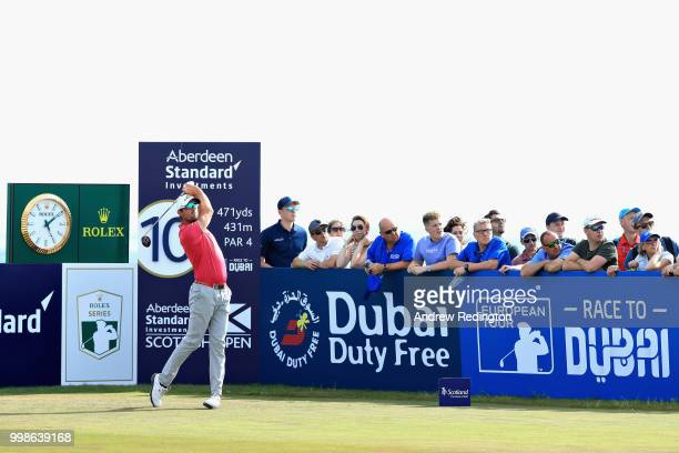 Alexander Bjork of Sweden takes his tee shot on hole ten during day three of the Aberdeen Standard Investments Scottish Open at Gullane Golf Course...
