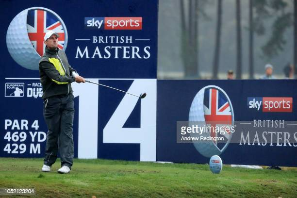 Alexander Bjork of Sweden tees off on the 14th hole during day four of Sky Sports British Masters at Walton Heath Golf Club on October 14 2018 in...