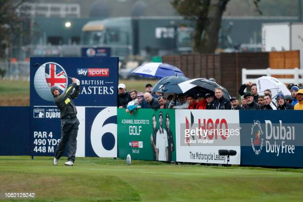 Alexander Bjork of Sweden tees off on the 16th hole during day four of Sky Sports British Masters at Walton Heath Golf Club on October 14 2018 in...