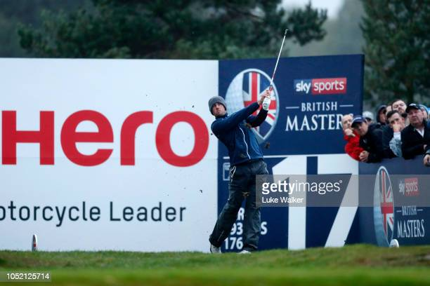 Alexander Bjork of Sweden tees off on the 17th hole during day four of Sky Sports British Masters at Walton Heath Golf Club on October 14 2018 in...