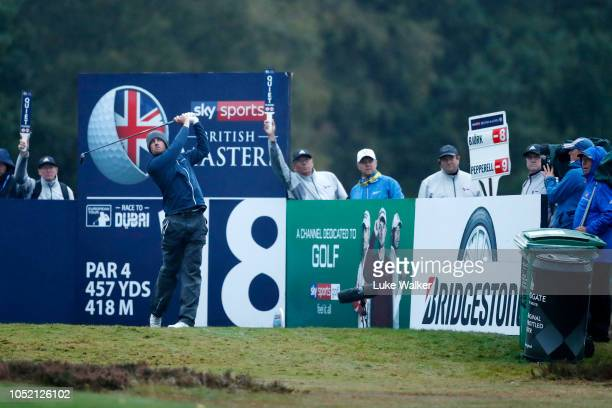 Alexander Bjork of Sweden tees off on the 18th hole during day four of Sky Sports British Masters at Walton Heath Golf Club on October 14 2018 in...