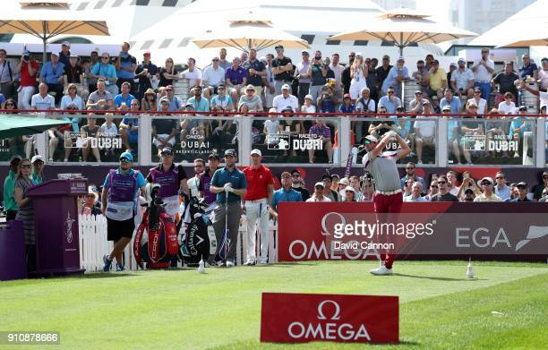 Alexander Bjork of Sweden tees off on the 1st hole during day three of Omega Dubai Desert Classic at Emirates Golf Club on January 27 2018 in Dubai...