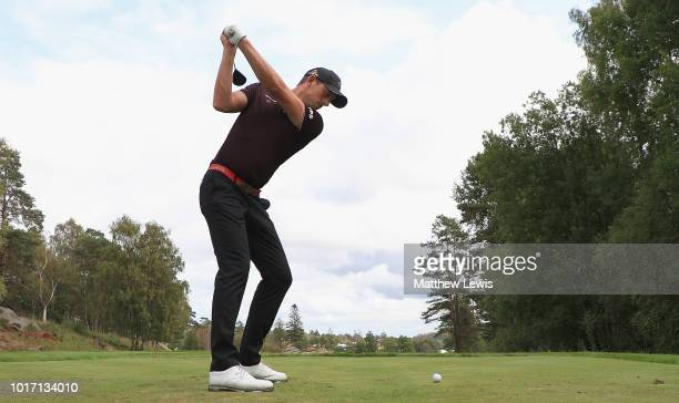 Alexander Bjork of Sweden tees off on the 8th hole during a practice round ahead of the Nordea Masters at Hills Golf Club on August 15 2018 in...