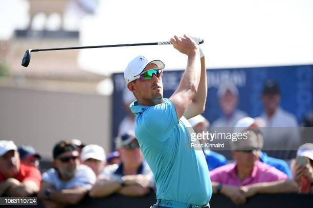 Alexander Bjork of Sweden tees off on the first hole during day four of the DP World Tour Championship at Jumeirah Golf Estates on November 18 2018...